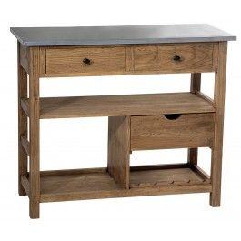 Une table billot en pin massif et dessus zinc, inspirée d'un meuble de métier harmonieux et rassurant. De nombreux rangements sont disponibles dans ce meuble billot.