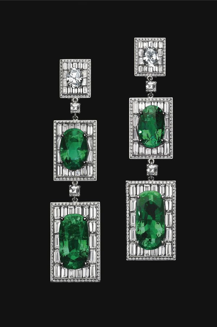 PAIR OF PLATINUM, EMERALD AND DIAMOND EARRINGS, OLIVIER REZA The highly important earrings suspending 4 oval-shaped Colombian emeralds weighing a total of 51.84 carats, framed by 428 variously shaped diamonds of 17.95 carats, design by Olivier Reza.