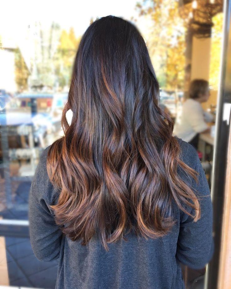 Carmel balayage on dark hair @beccapilz_hairmua tribez salon Blackhawk CA
