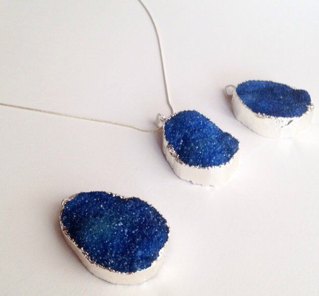 New Silver Plated Deep Blue Druzy necklaces on Etsy