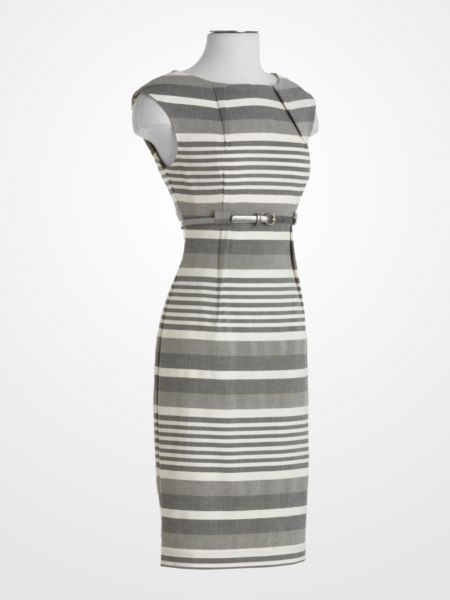 Calvin Klein Gray Stripe Dress Printed Dress