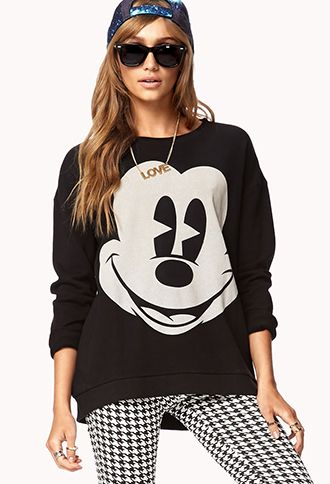 Cozy Mickey Mouse Pullover. I would wear this with a different bottom and hat.