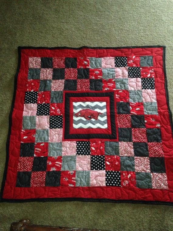 Razorback Baby Quilt with appliqué Hog with by DowntimeQuilting