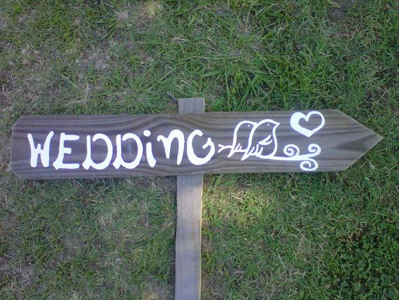 LOVE BIRDS Wedding Sign Directional Arrow With a by TRUECONNECTION, $40.00