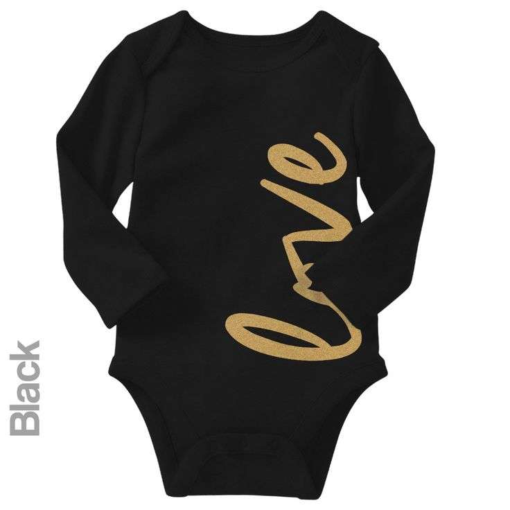 Love (Gold Glitter) - Long Sleeve Infant Onesie | One-Piece Bodysuit | Baby Clothes | Also On Etsy