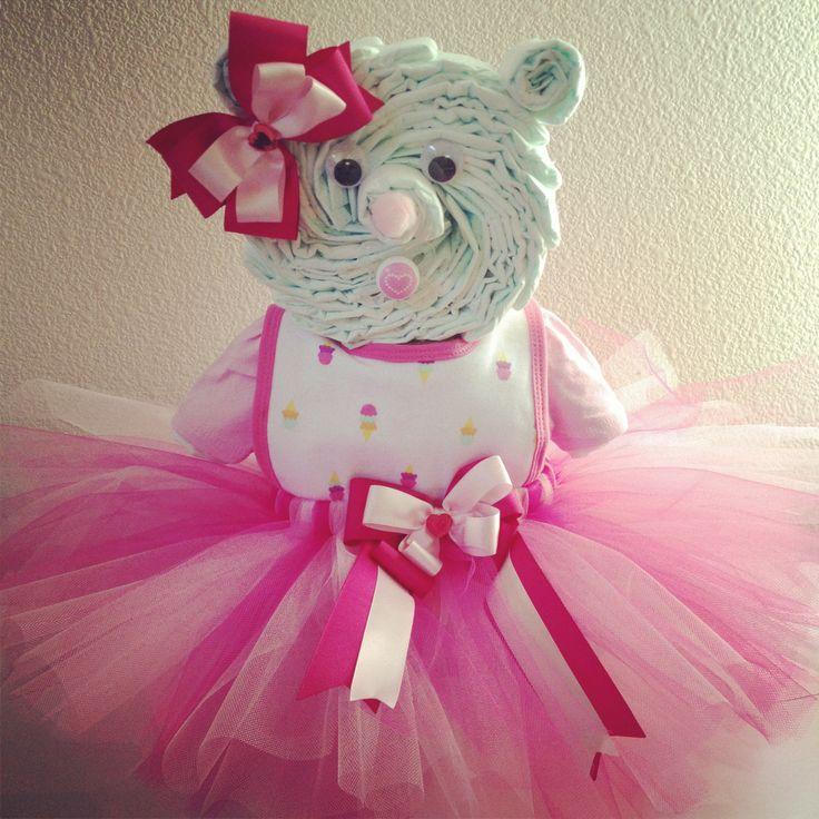 Diaper bear in pink I made for a baby shower.