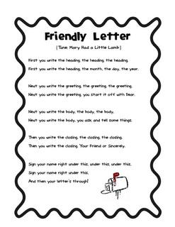 Crisscross Applesauce In First Grade: Friendly Letter Song *Freebie* And an Award