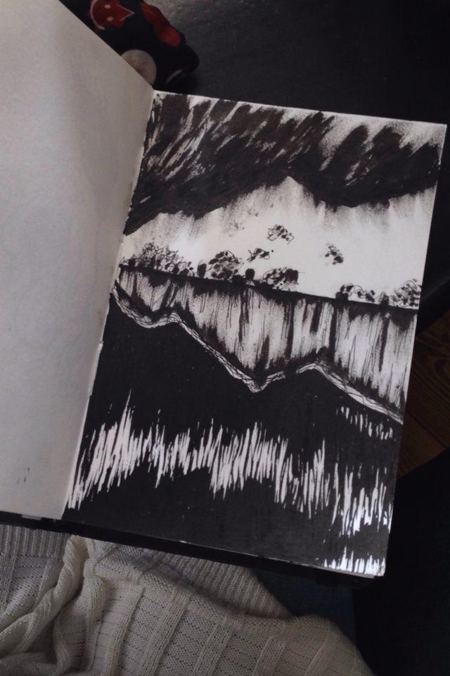 Mountains, lake, lights, ink, rapidographs