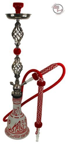 34 Red Egyptian Hookah Huka Narghile Pipe Smoke Sheesha 1 Hose Vase Set