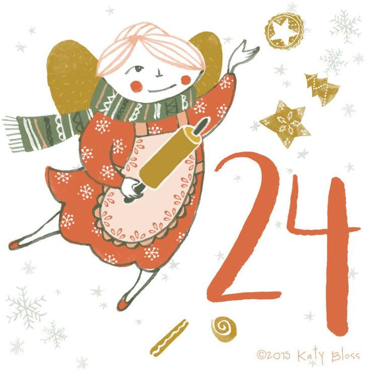 Watercolour of a Christmas fairy for day 24 of an illustrated advent calendar by Katy Bloss.