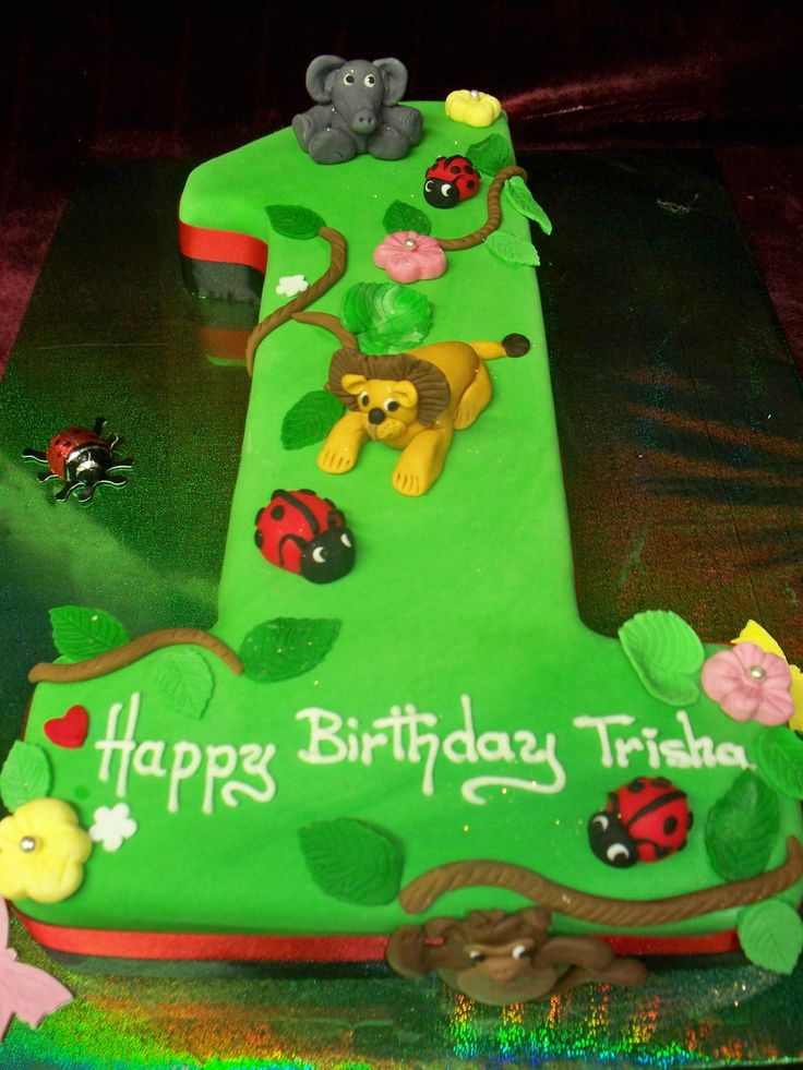 Number one lady bug & jungle animal themed birthday cake
