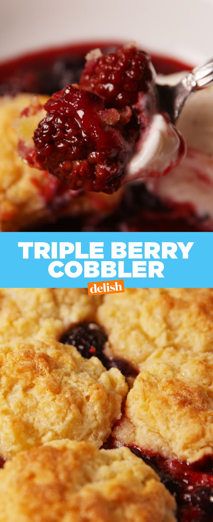 We're 100% down for three servings of fruit if it comes from this Triple Berry Cobbler. Get the recipe at Delish.com.