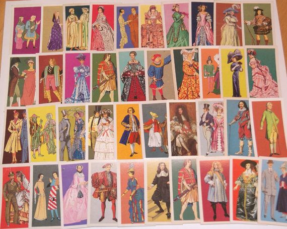 Lot of 40 vintage Costume Tea Cards Brooke Bond for scrapbooking collage altered art crafts by scrapitsideways, $6.00