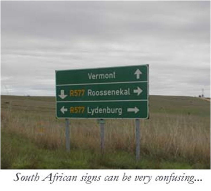 A confusing South African roadsign