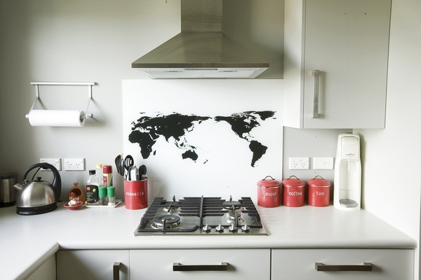 Cooking dinners from around the world...an interesting splashback look with netural backdrop in Resene Foggy Grey.