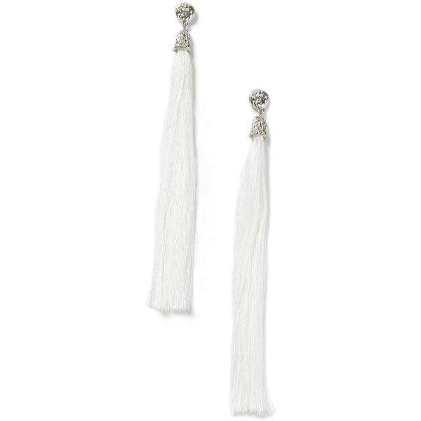 Miss Selfridge Statement White Tassel Earring (£18) ❤ liked on Polyvore featuring jewelry, earrings, white, metal earrings, white metal jewelry, miss selfridge, tassel earrings and white tassel earrings