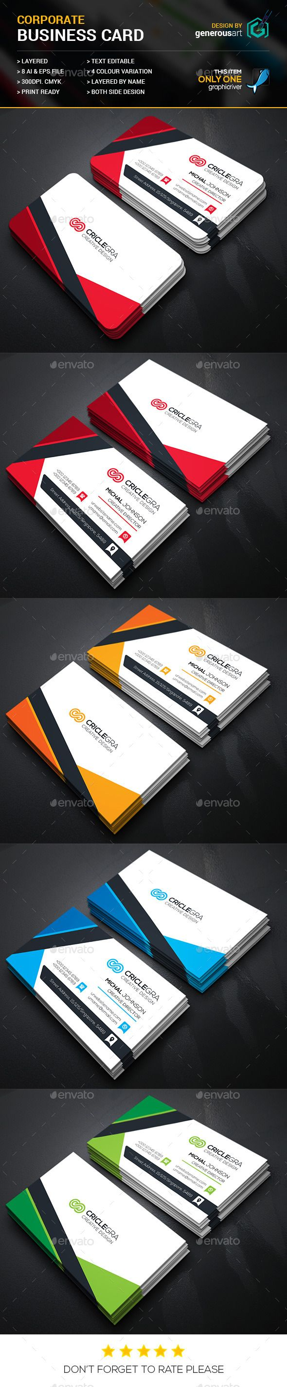 Corporate Business Cards Template #design Download: http://graphicriver.net/item/corporate-business-cards/12408930?ref=ksioks