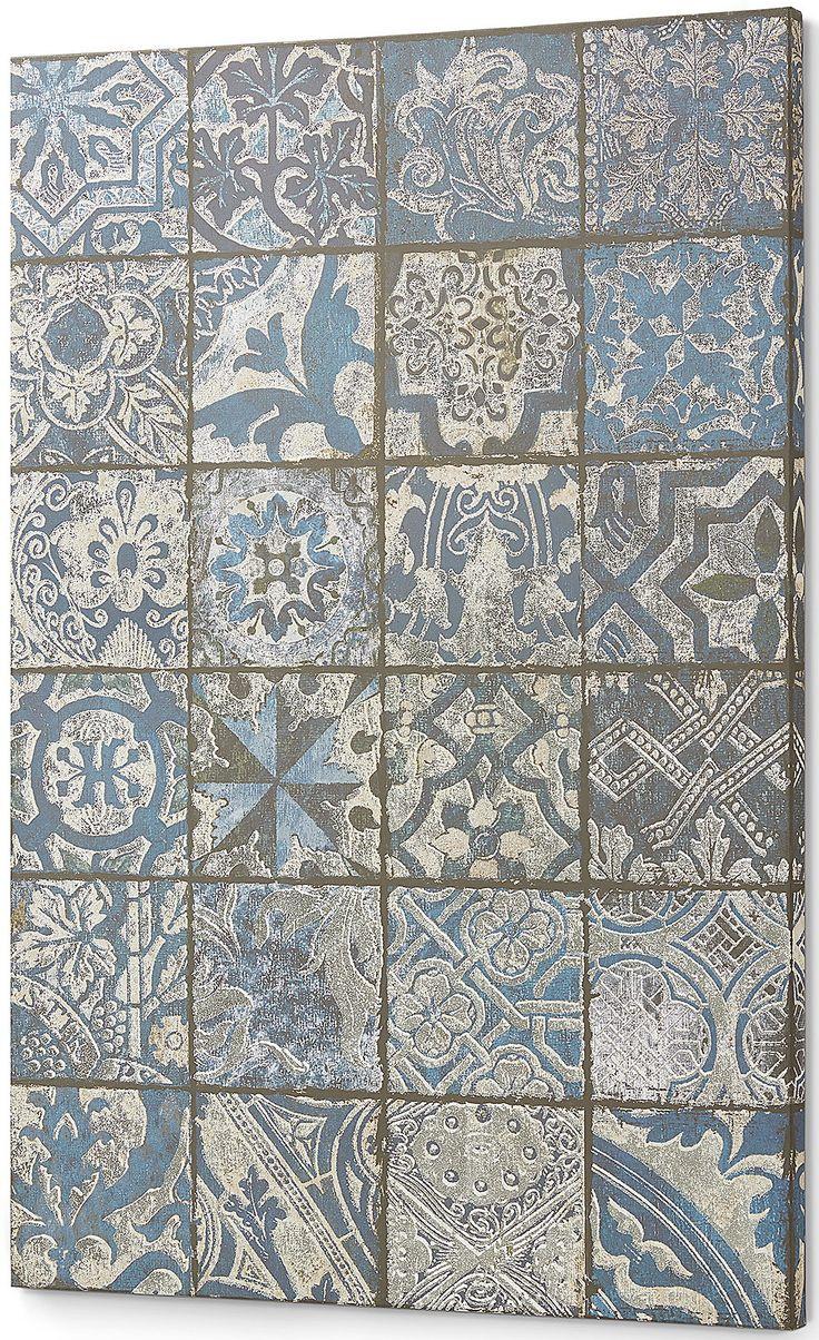 Un disegno a patchwork dal sapore orientale, che fa gustare tutto il profumo di un qualcosa di magico. Meravigliosa stampa, una griglia di disegni geometrici combinata con fiori stilizzati e simboli criptici, in questo quadro.