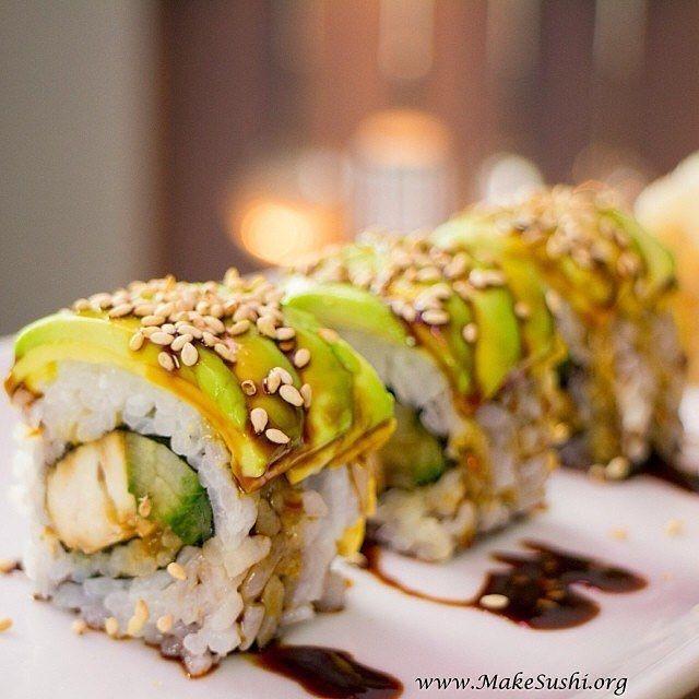 Teriyaki chicken sushi roll   Find my recipe how yo make this on my website www.makesushi.com  Make Sushi http://ift.tt/23GN2uo