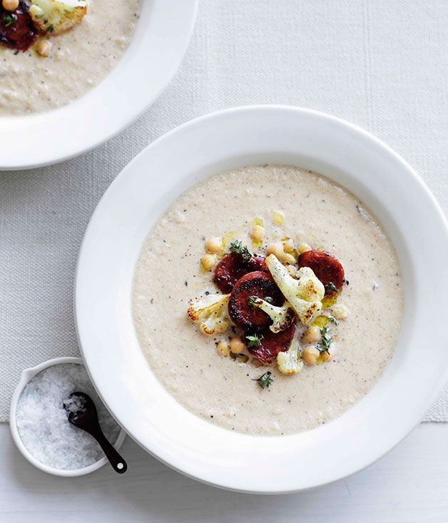 Roast cauliflower soup with chickpeas and chorizo