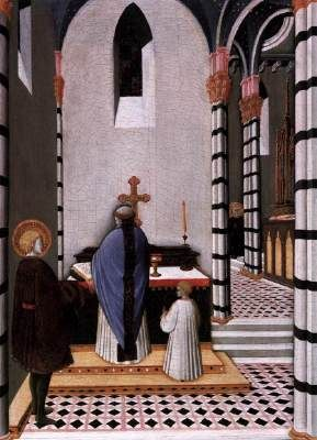 Maestro dell'Osservanza (Sano di Pietro?) - Pala di Sant'Antonio abate: Sant' Antonio decide di dedicare  la sua vita a Dio - c. 1440 -  tempera su tavola -   Staatliche Museen, Berlino