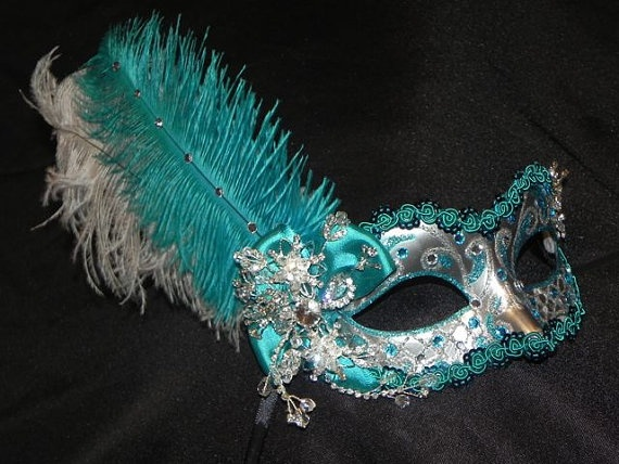 By thecraftychemist07 on Etsy.: Colour, Silver Feathers, Venetian Masks, Design Ideas, Color, Feathers Masks, Masquerades Masks Ideas, Aqua Silver, Blue Masquerades Masks