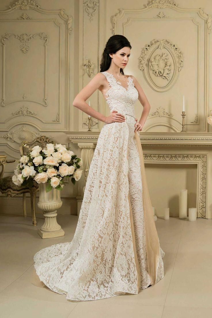 Nádherné čipkované svadobné šaty s ramienkami