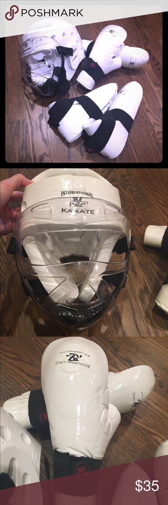Karate Sparring Gear Karate sparring gear. White. Head piece with removable face shield, foot shields, and gloves. International Karate Federation. Adult size XL. Other