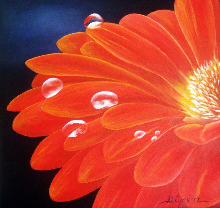 Aster Flower, Acrylic on canvas, 50cm x 50cm, Artist : Aliyas