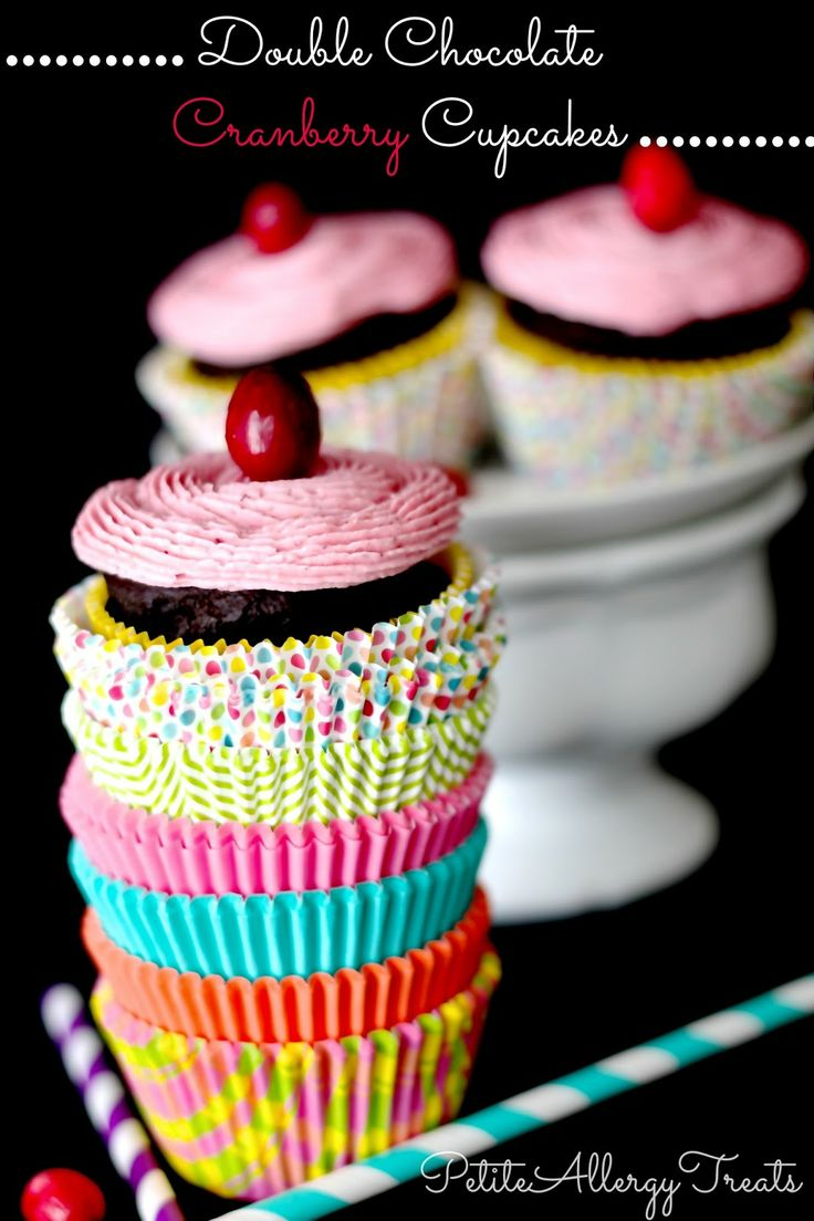 Gluten Free Double Chocolate Cupcakes with Cranberry-Best EVER petiteallergytreats.blogspot.com #glutenfree, #dairyfree, #eggfree, #soyfree Thanks for sharing at vegetarianmamma.com's #glutenfreefridays link up! #glutenfree #gfree #gf
