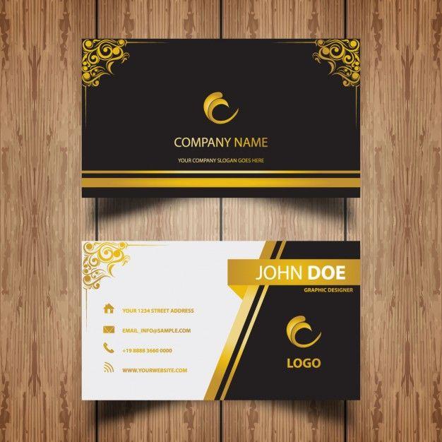 cartão de visita de luxo com quadros ornamento dourado Vetor grátis