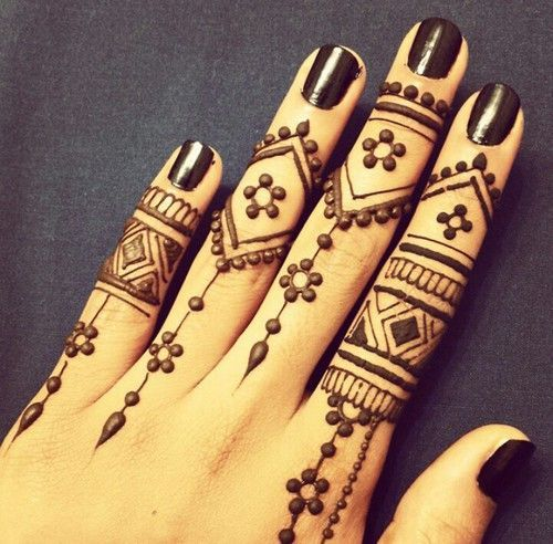 Get some inspiration on mehndi designs for finger. Ideas can be used for weddings and religious events. Click for a variety styles from simple to detailed.