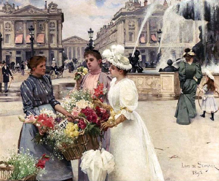 Flower Seller, Place de la Concorde, 1892 by Louis Marie de Schryver (French, 1862-1942)