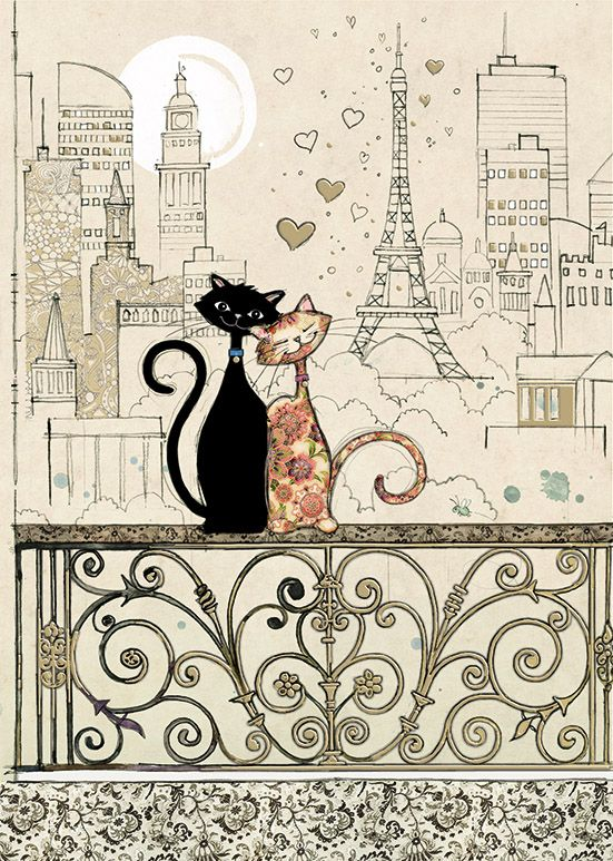bug art H017 Romantic Cats greeting cards