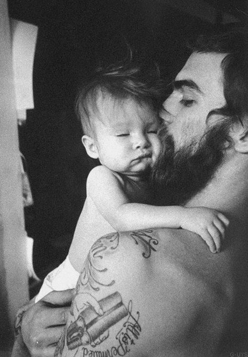 theyardpdx, father, son, child, sleep, morning, black and white, tattoo