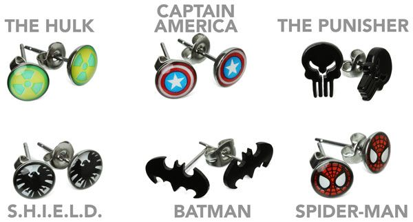 ThinkGeek - Superhero Earrings.  If I got my ears pierced, it would be for something like this.