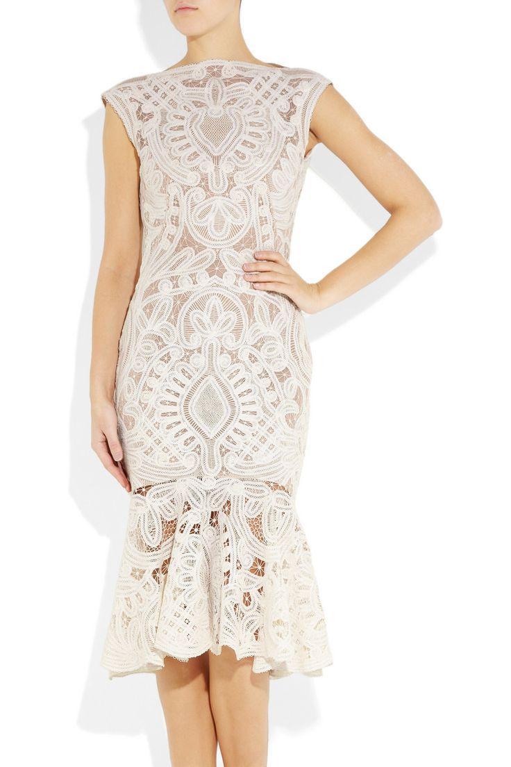 ALEXANDER MCQUEEN Crochet-embroidered lace silk organza dress. weddingdress