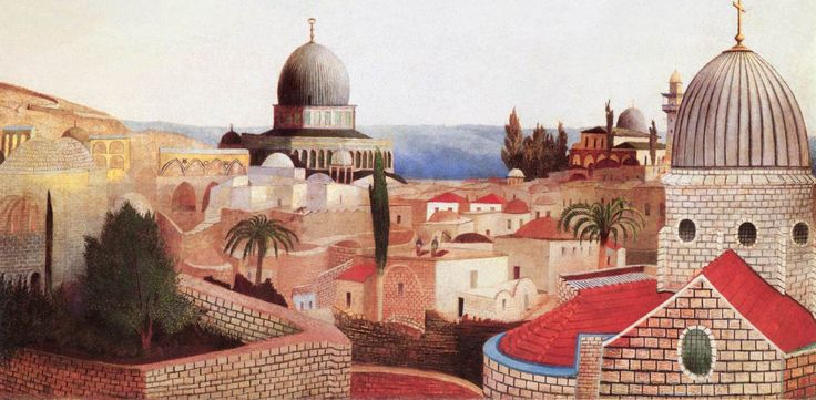 Csontváry Kosztka Tivadar - Templomtéri kilátás a Holt-tengerre Jeruzsálemben / View of the Dead Sea from the Temple Square in Jerusalem, 1905