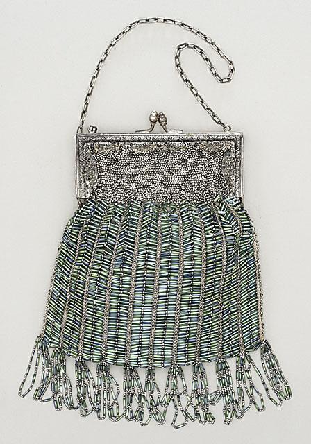 Silver and cut-steel beaded handbag, American, ca. 1920.
