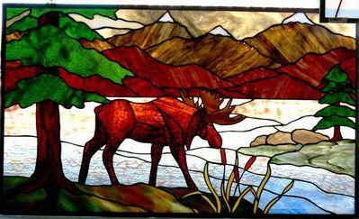 Stained glass moose window by www.phoenixstudio.com