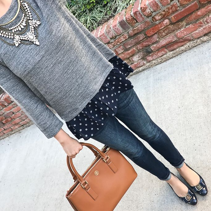 shell flounce sweater, ferragamo vara navy pumps - click the photo for outfit details!
