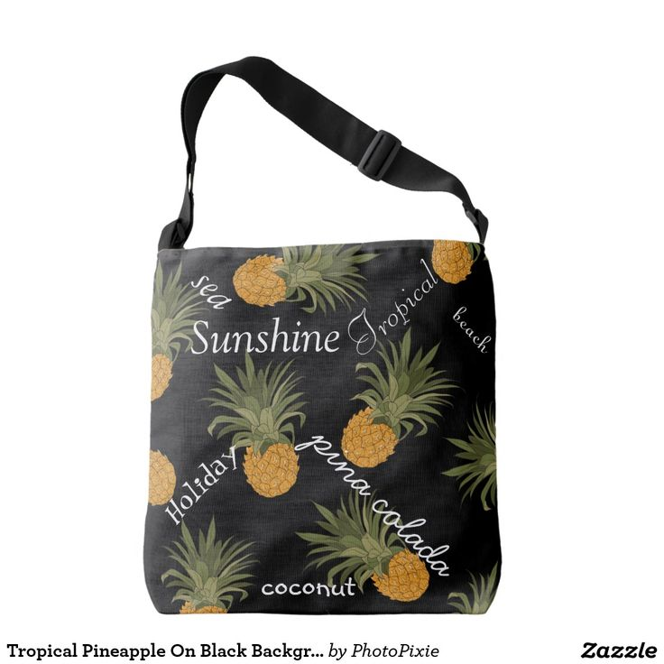 Tropical Pineapple On Black Background Typography Over Shoulder Tote Bag