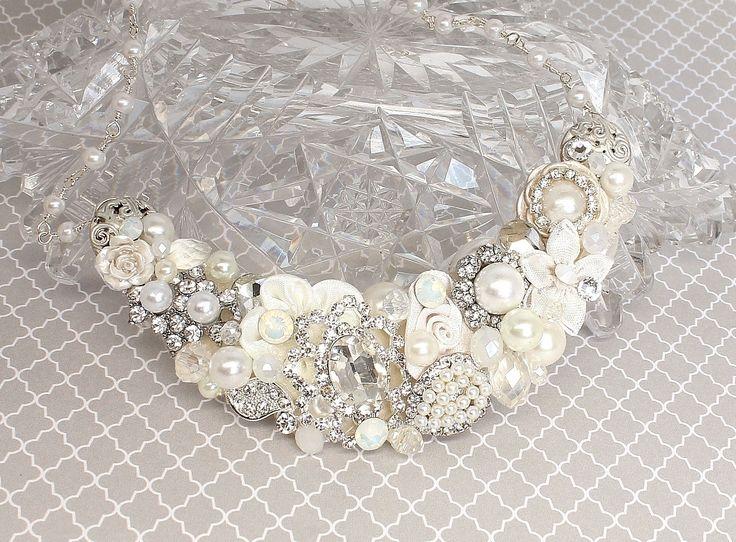 Bridal Statement Necklace-Vintage Inspired Statement Necklace-Bridal Necklace- Bridal Bib Necklace- Brass Boheme-Bridal Statement Necklace by BrassBoheme on Etsy