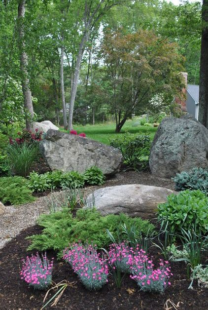 17 best images about boulder landscaping on pinterest for Landscaping large gardens