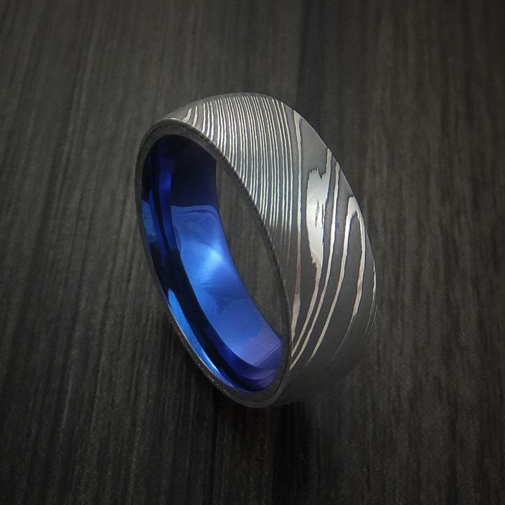 Damascus Steel Ring with Anodized Titanium Interior Sleeve Custom Made - Revolution Jewelry  - 1