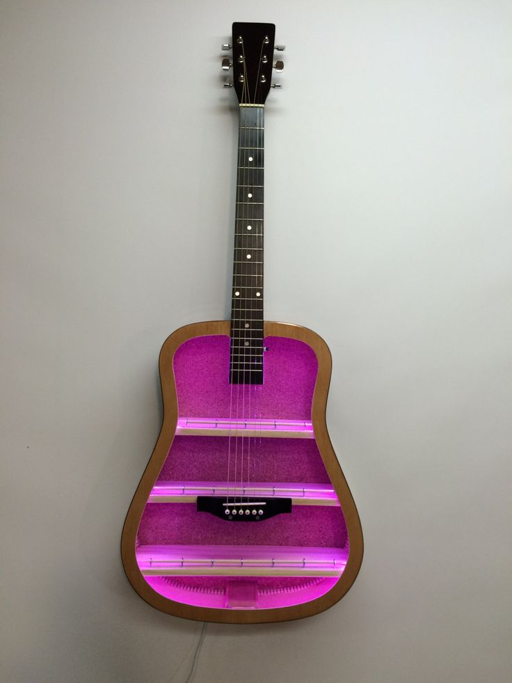 Guitar Shelf # 27. Recycled acoustic guitar with custom shelves and color changing LED.