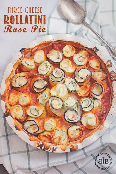 3-cheese rollatini rose pie made with eggplant, zucchini and yellow squash. Gluten free and no carb!