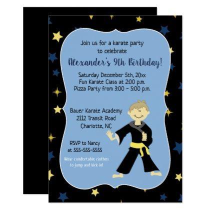 Tae Kwon Do Birthday Invitations Yellow Belt Boy - invitations custom unique diy personalize occasions