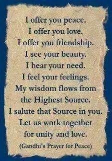 Beautiful Prayer for Peace, from Mahatma Gandhi... ~~ Houston Foodlovers Book Club