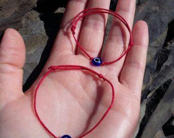 """Set """"Mom&Me"""" Red string evil eye braclets, Mom and Baby Blue evil eye bracelets, Lucky bracelets,Protecting bracelets, Adjustable"""